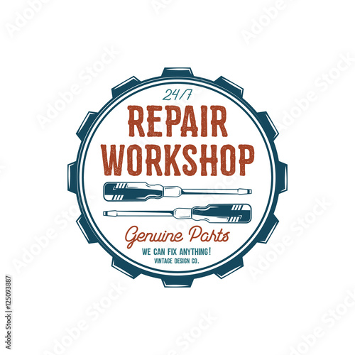 """Vintage label design. Repair workshop emblem in retro ..."