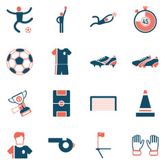 Soccer icons set flat design. Illustration eps10