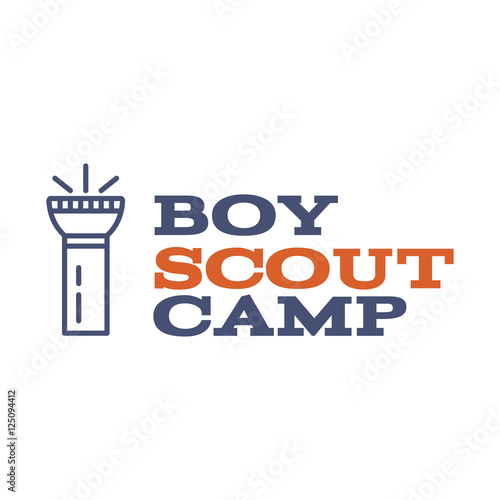 Boy scout camp logo design with typography and travel