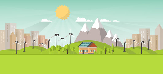 Eco Landscape Flat Design. Eco concept. Illustration of solar panel, with wind turbines. Renewable energy vector.