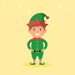 Kid in a Christmas Elf costume