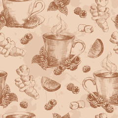 Cup of tea with ginger mint and lemon seamless. Seamless pattern with graphic hand drawn cups of tea in brown colors. Vector illustration