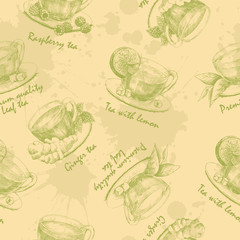 Hand drawn cup of green tea seamless. Seamless pattern with graphic hand drawn cups of tea in green colors. Vector illustration