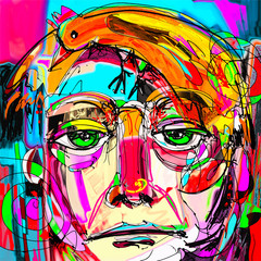 contemporary digital painting portrait of the man face with oran