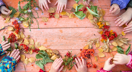 Children's hand make autumn frame