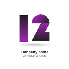 12 logo icon flat and vector design template. Monogram numbers one and two. Logotype twelve with purple gradient color. Creative vision concept logo, elements, sign, symbol for card, brand, banners.