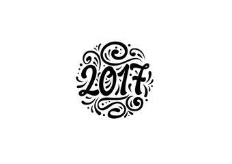 Lettering 2017 with Ornament