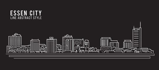 Cityscape Building Line art Vector Illustration design - Essen city