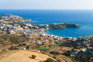 Panoramic skyline view of Agia Pelagia village Heraklion Crete G