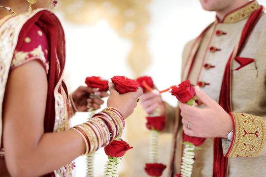 Amazing hindu wedding ceremony. Details of traditional indian wedding.