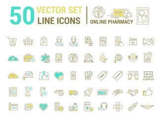 Vector graphic set. Silhouette, logo, icon. Online pharmacy, Internet drug store.Medical equipment in linear, flat, contour, thin design. App, Web site template, infographic.