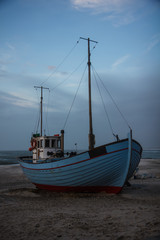 Fishing boat at the beach in spring,  Thisted,Denmark