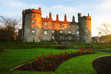 Kilkenny Castle and gardens in the evening