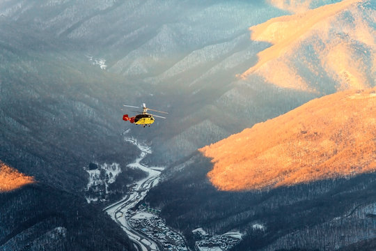 Helicopter winter mountain aerial view in Krasnaya Polyana