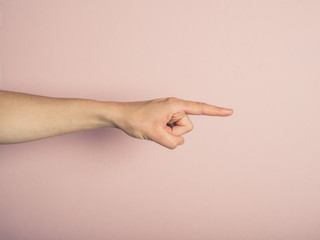 Female hand pointing