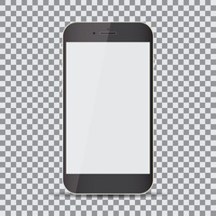 Blank screen. Realistic black smartphone on a transparent background