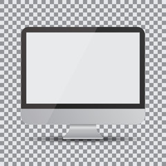 Blank screen. Realistic computer display on a transparent background