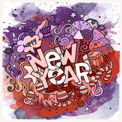 New Year hand lettering and doodles elements watercolor background