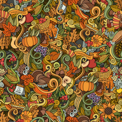 Thanksgiving autumn symbols, food and drinks seamless pattern.