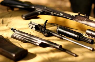Assembly parts of kalashnikov assault rifle ak74