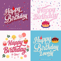 4 Happy Birthday greeting card