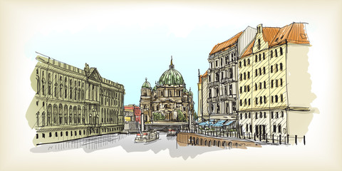 Sketch of City scape in Germany. Berlin Cathedral. Old building hand drawn