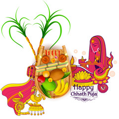 Happy Chhath Puja Holiday background for Sun festival of India