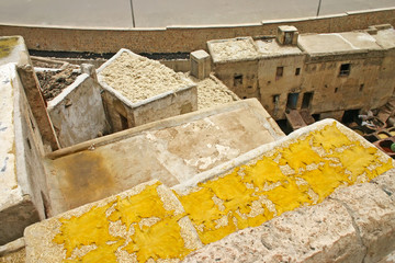 Tanned hides drying on a rooftop near one of the tanneries in th