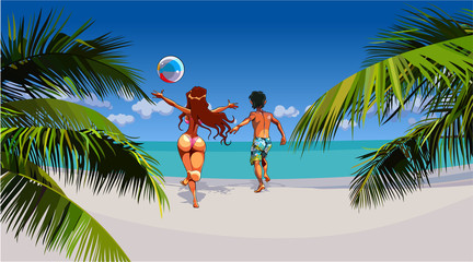 cartoon man and woman happily running on tropical beach