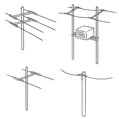 vector set of electric pole