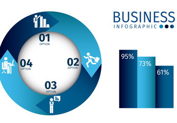 Blue Gradient Circle Element Business Infographic with Pictograms