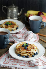Banana pancakes with blueberry