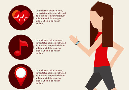 Health and Fitness Wearable Infographic with Illustrated Runner Element