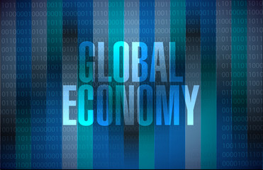 global economy binary background sign concept