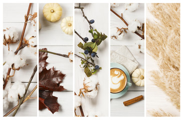 Autumn cappuccino coffee cup, collage composition background