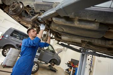 mechanic man or smith repairing car at workshop