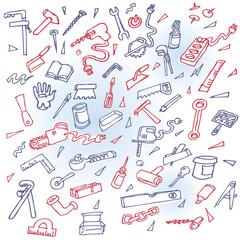 Telefongekritzel mit verschiedenen Werkzeugen