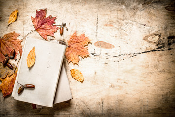 Old books and autumn leaves.