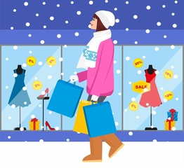 Shopping girl - Stock Illustration. fashionable girl with purchases for your design