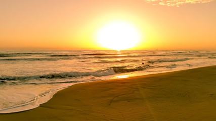 Beautiful Sun Down on the Sand Beach