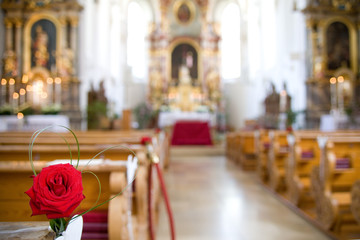 Christian wedding decoration / rose in a church