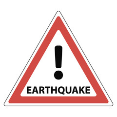 sign of the earthquake, the red triangle exclamation mark and the text earthquake