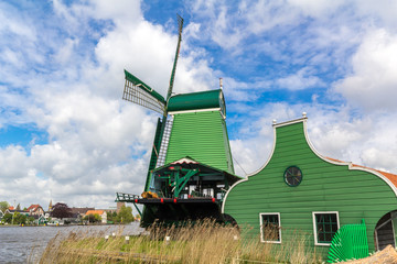 Traditional Dutch windmills at Zaanse Schans, Amsterdam