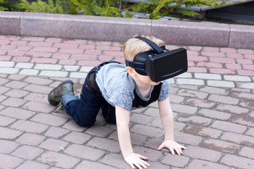 Boy with the virtual glasses