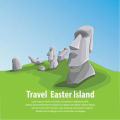Travel and Famous Landmarks and beautiful. Moai stone statue head on Easter Island on symbol republic of Chile ,Moai statue flat design landmark illustration vector cartoon.