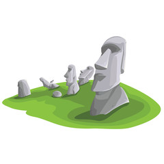 Travel and Famous Landmarks and beautiful on white background. Moai stone statue head on Easter Island on symbol republic of Chile ,Moai statue flat design landmark illustration vector cartoon.