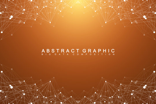 Big data complex. Graphic abstract background communication. Perspective backdrop of depth. Minimal array with compounds lines and dots. Digital data visualization. Big data vector illustration.
