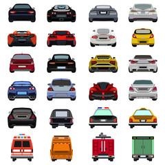 super car flat set icon