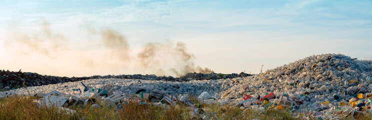 panorama view of waste dumping site of landscape