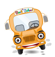 illustration of cartoon school bus character isolated